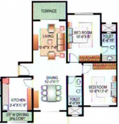 Karia Konark Indrayu Enclave I (2BHK+2T (1,110 sq ft) Apartment 1110 sq ft)