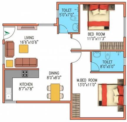 VKC Chourasia Pride (2BHK+2T (1,035 sq ft) Apartment 1035 sq ft)