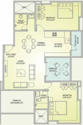 Alliance Chitralekha (2BHK+2T (1,178 sq ft) Apartment 1178 sq ft)