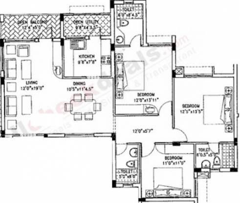 Purva Purva Jade (3BHK+3T (1,339 sq ft) Apartment 1339 sq ft)