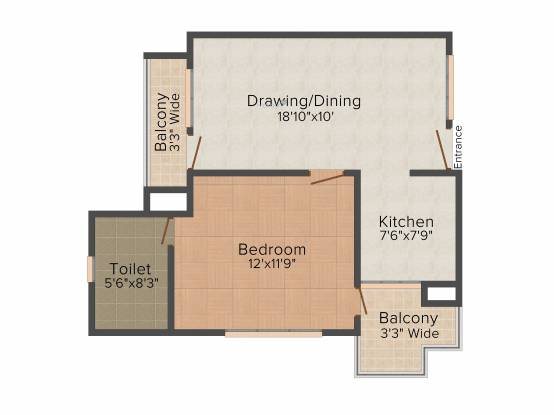 Emerging Heights III (1BHK+1T (695 sq ft) Apartment 695 sq ft)