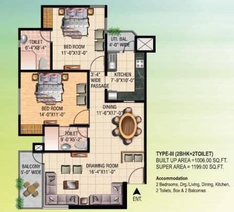 Eldeco City Breeze (2BHK+2T (1,199 sq ft) Apartment 1199 sq ft)