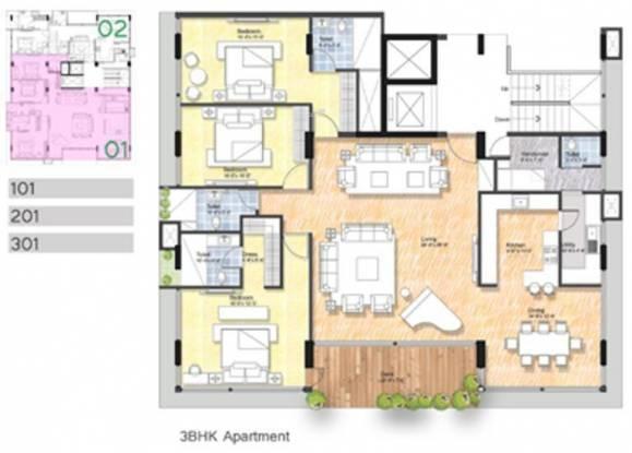 Krishvi Bougainvillea (3BHK+4T (2,000 sq ft) + Servant Room Apartment 2000 sq ft)