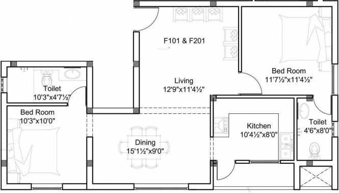 Romaa Gaarden (2BHK+2T (1,161 sq ft) Apartment 1161 sq ft)