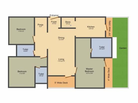 Lodha Athena (3BHK+3T (2,018 sq ft)   Pooja Room Apartment 2018 sq ft)