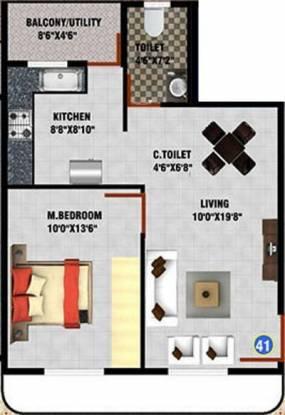 DS DSMAX SHERWOOD (1BHK+1T (733 sq ft) Apartment 733 sq ft)