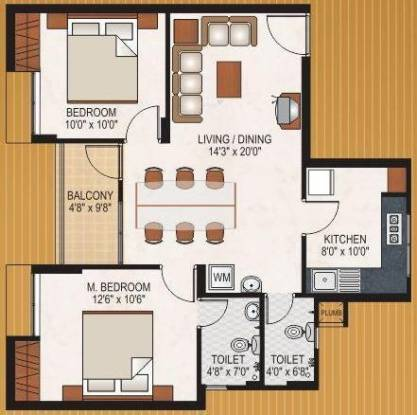 Mohtisham Gallery (2BHK+2T (905 sq ft) Apartment 905 sq ft)