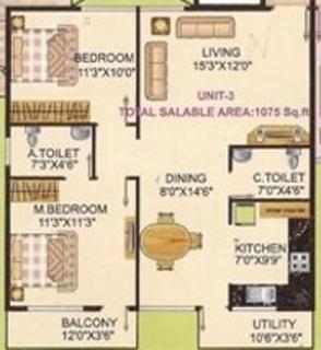 i1 S S Elina (2BHK+2T (1,075 sq ft) Apartment 1075 sq ft)