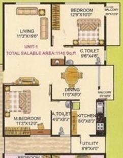 i1 S S Elina (2BHK+2T (1,140 sq ft) Apartment 1140 sq ft)