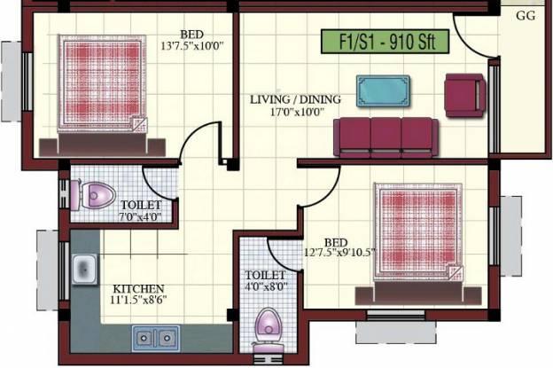 Kaaviya Isha (2BHK+2T (910 sq ft) Apartment 910 sq ft)