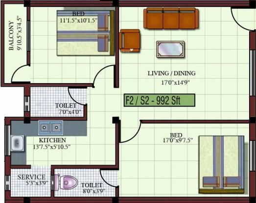 Kaaviya Isha (2BHK+2T (992 sq ft) Apartment 992 sq ft)