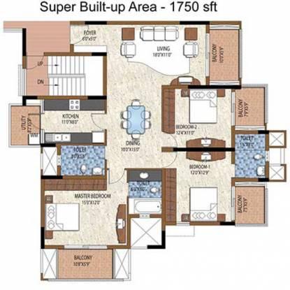 Purva Purva Atria (3BHK+3T (1,750 sq ft) Apartment 1750 sq ft)