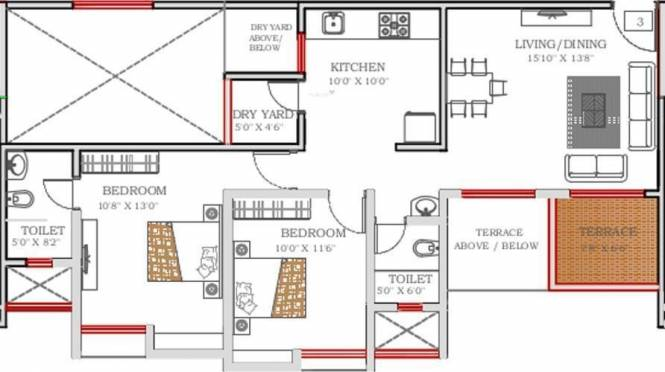VTP Urban Senses (3BHK+2T (1,185 sq ft) Apartment 1185 sq ft)