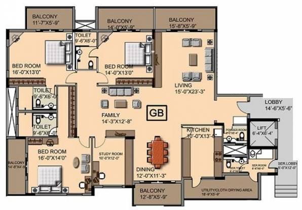 Ashed Regency Aura (3BHK+3T (3,276 sq ft)   Study Room Apartment 3276 sq ft)