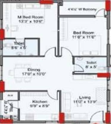 Indu The Annexe (2BHK+2T (1,200 sq ft) Apartment 1200 sq ft)