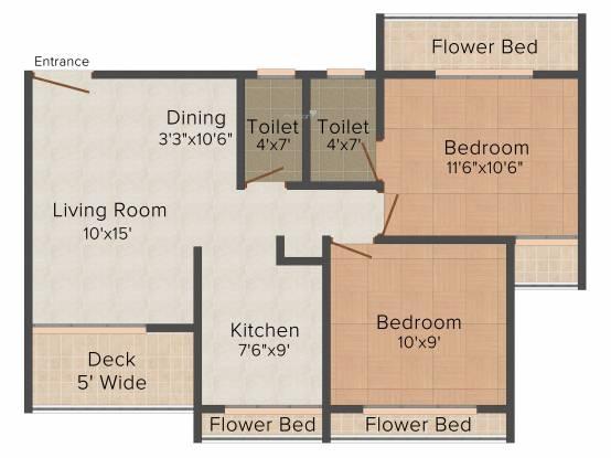 Mangalmurti Hari Govind Dham (2BHK+2T (985 sq ft) Apartment 985 sq ft)