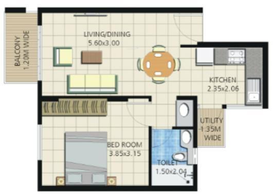 Umiya Quatro (1BHK+1T (621 sq ft) Apartment 621 sq ft)