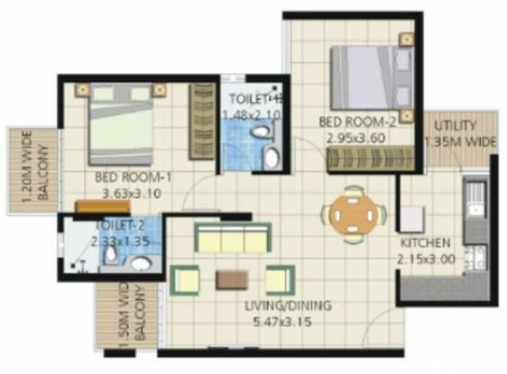 Umiya Quatro (2BHK+2T (912 sq ft) Apartment 912 sq ft)