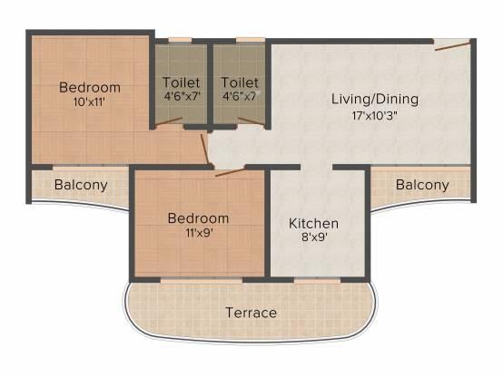 Paradise Sai Riverdale (2BHK+2T (1,115 sq ft) Apartment 1115 sq ft)