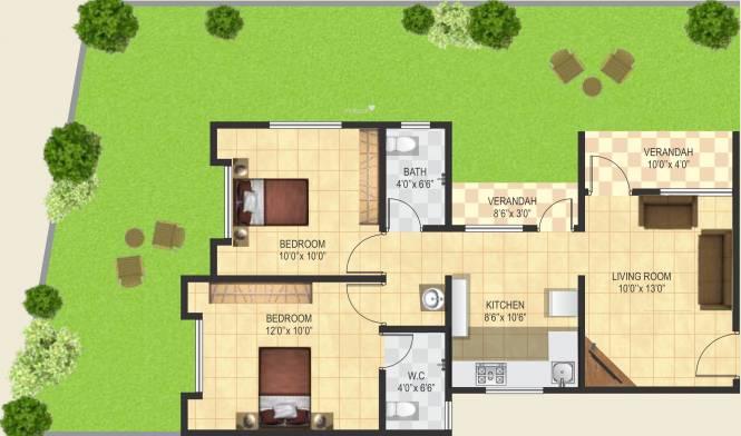 Ashtvinayak Aarambh (2BHK+2T (1,087 sq ft) Apartment 1087 sq ft)