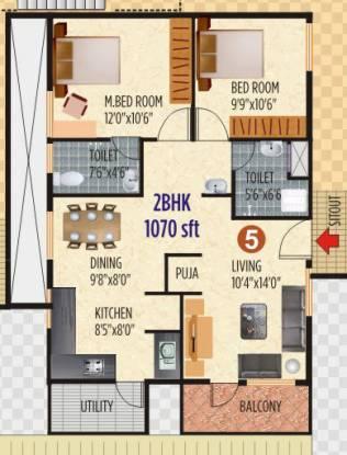 Vaastu Hillview 1 (2BHK+2T (1,070 sq ft) Apartment 1070 sq ft)