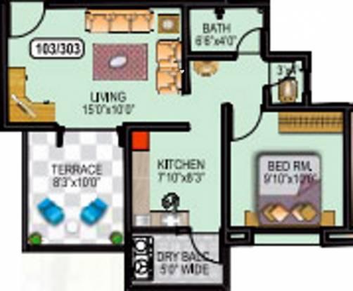Omkar Dream Square II (1BHK+1T (613 sq ft) Apartment 613 sq ft)