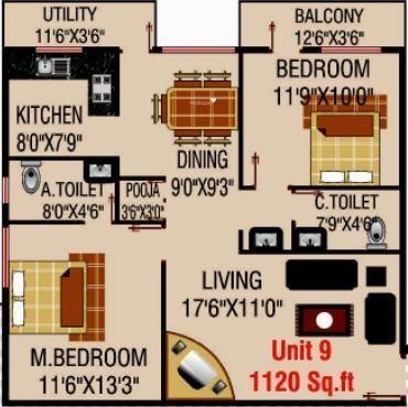 MSK Lakvin Shelters (2BHK+2T (1,120 sq ft)   Pooja Room Apartment 1120 sq ft)