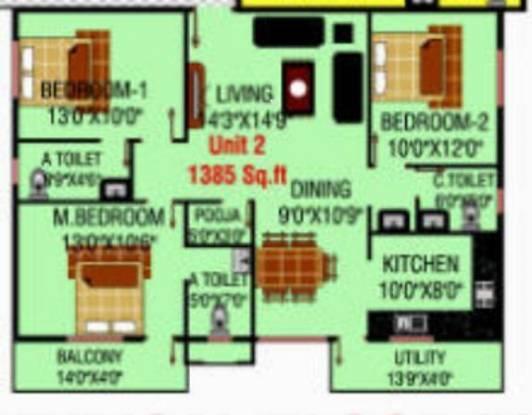 MSK Lakvin Shelters (3BHK+3T (1,385 sq ft)   Pooja Room Apartment 1385 sq ft)