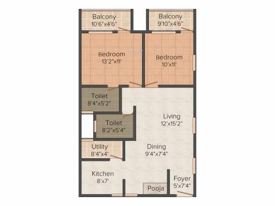 Silicon Elegant Paradise (2BHK+2T (1,100 sq ft) Apartment 1100 sq ft)