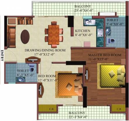Paramount Orchid (2BHK+2T (1,120 sq ft) Apartment 1120 sq ft)
