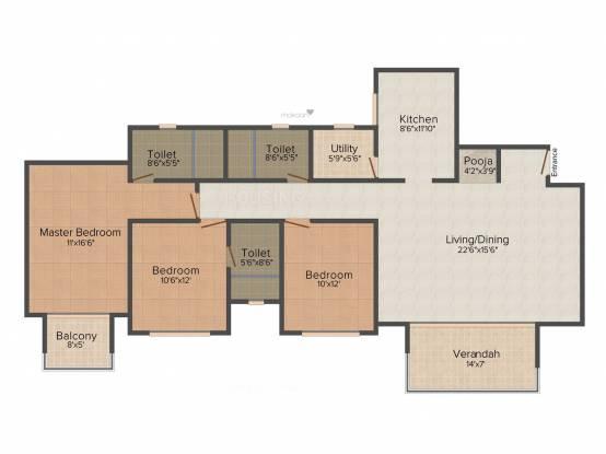 Hiranandani Hill Crest (3BHK+3T (1,885 sq ft)   Pooja Room Apartment 1885 sq ft)