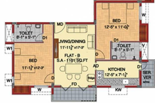 Fomra Westend (2BHK+2T (1,101 sq ft) Apartment 1101 sq ft)