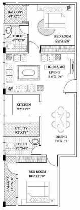 CMRS Sai Dale (2BHK+2T (1,197 sq ft) Apartment 1197 sq ft)