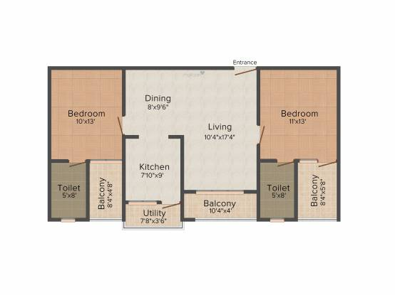 CMRS Phoenix Boulevard (2BHK+2T (1,075 sq ft) Apartment 1075 sq ft)