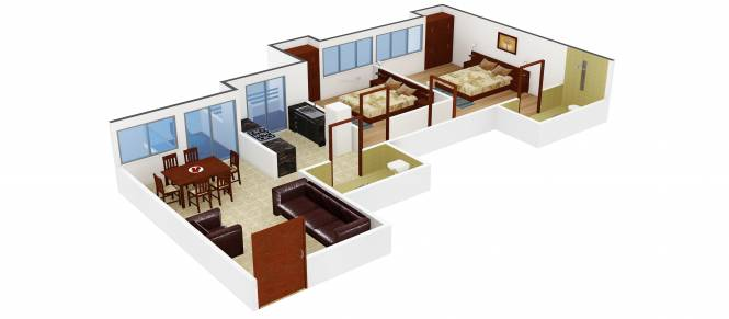Imperial Alassio Ressidency (2BHK+2T (878 sq ft) Apartment 878 sq ft)