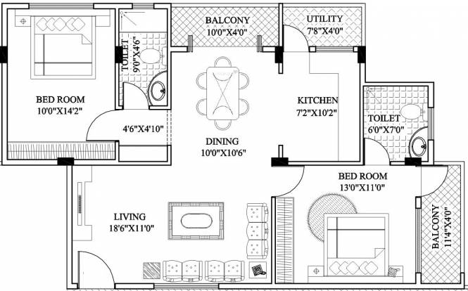 CMRS Sunny Dew (2BHK+2T (1,174 sq ft) Apartment 1174 sq ft)