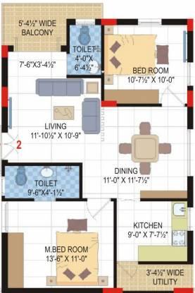 Lore Asvasidh Towers (2BHK+2T (1,095 sq ft) Apartment 1095 sq ft)