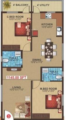 Navajyothi Athithi Grand (2BHK+2T (1,145 sq ft) Apartment 1145 sq ft)