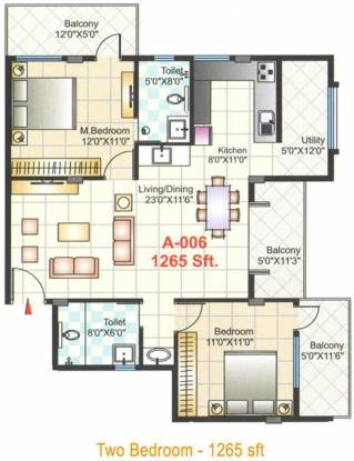 Shreedevi Devin Indra Paradise (2BHK+2T (1,265 sq ft) Apartment 1265 sq ft)