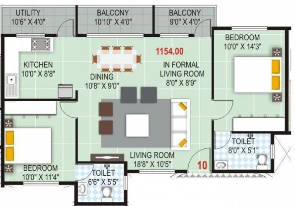 Vandana Sarovar (2BHK+2T (1,154 sq ft) Apartment 1154 sq ft)