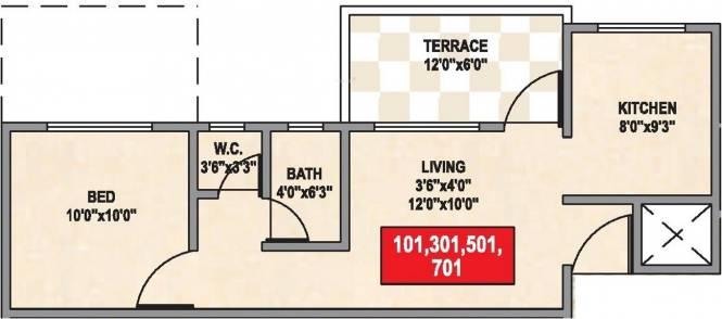 Namrata Crystal Park (1BHK+1T (601 sq ft) Apartment 601 sq ft)