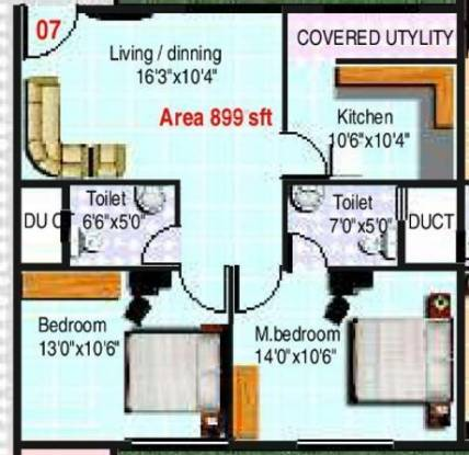 Vandana Pearls (2BHK+2T (899 sq ft) Apartment 899 sq ft)
