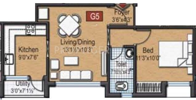 Siraj Anurag Garden (1BHK+1T (598 sq ft) Apartment 598 sq ft)