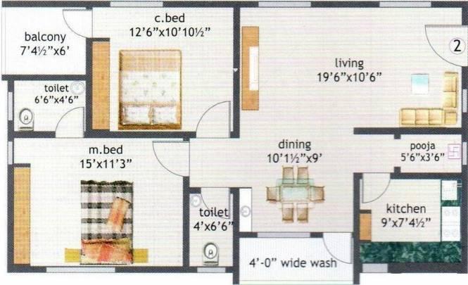 KSR Sri Jaya Classic (2BHK+2T (1,170 sq ft)   Pooja Room Apartment 1170 sq ft)