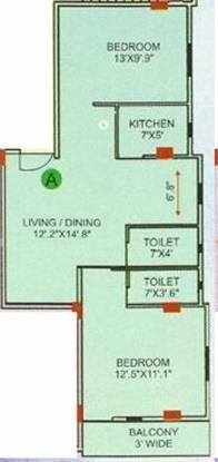 4Walls Chaya Neer (2BHK+2T (949 sq ft) Apartment 949 sq ft)