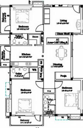 Chozha Arul Vel (3BHK+3T (1,687 sq ft)   Pooja Room Apartment 1687 sq ft)