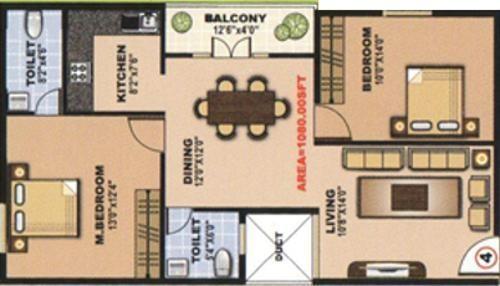 Dreamciti SLV Heights (2BHK+2T (1,000 sq ft) Apartment 1000 sq ft)