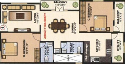 Dreamciti SLV Heights (2BHK+2T (1,188 sq ft) Apartment 1188 sq ft)