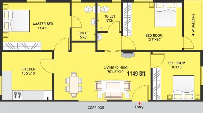 Modi Paradise Homes (3BHK+2T (1,149 sq ft) Apartment 1149 sq ft)
