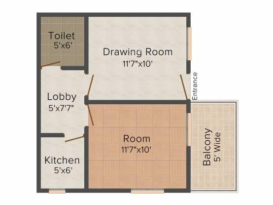 AKH Khatu Shyam Complex (1BHK+1T (433 sq ft) Apartment 433 sq ft)